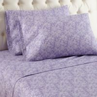 Micro Flannel® Violet Print Queen Sheet Set in Purple