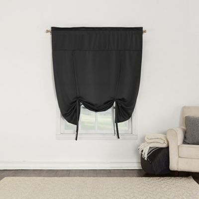 sun zero bella 64inch room darkening tieup window shade in black