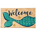 """Welcome"" Mermaid 16-Inch x 28-Inch Coir Multicolored Door Mat with Glitter"