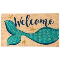 """""""Welcome"""" Mermaid 16-Inch x 28-Inch Coir Multicolored Door Mat with Glitter"""