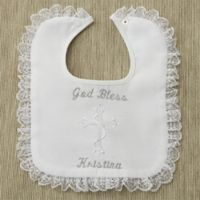 Lace Trimmed Christening Bib