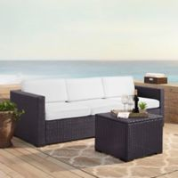 Crosley Biscayne 3-Piece Resin Wicker Outdoor Conversation Set with Cushions in White