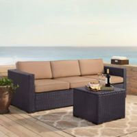 Crosley Biscayne 3-Piece Resin Wicker Outdoor Conversation Set with Cushions in Mocha