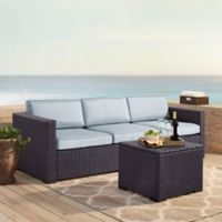 Crosley Biscayne 3-Piece Resin Wicker Outdoor Conversation Set with Cushions in Mist