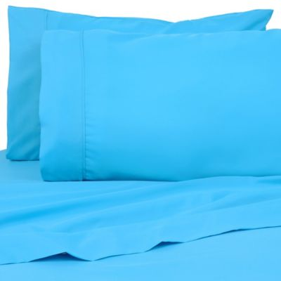 Exceptional Premier Colorful 80 GSM Twin Sheet Set In Aqua Blue
