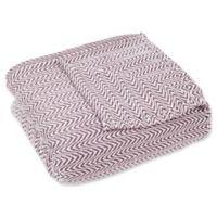 Chevron Full/Queen Lux Soft Throw Blanket in Burgundy