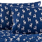 Seasons Reindeer Flannel Queen Sheet Set in White/Blue
