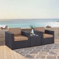 Crosley Biscayne 3-Piece Resin Wicker Armchairs and Coffee Table Set with Cushions in Mocha