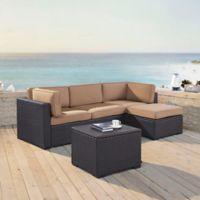 Crosley Biscayne 4-Piece Resin Wicker Sectional Set with Cushions in Mocha