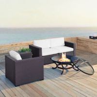 Crosley Biscayne 4-Piece Fire Pit Conversation Set with Cushions in White