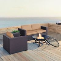 Crosley Biscayne 4-Piece Fire Pit Conversation Set with Cushions in Mocha