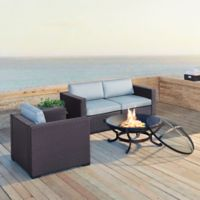 Crosley Biscayne 4-Piece Fire Pit Conversation Set with Cushions in Mist