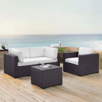 Crosley Biscayne 4-Piece Resin Wicker Conversation Set with White Cushions