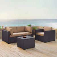 Crosley Biscayne 4-Piece Resin Wicker Conversation Set with Mocha Cushions