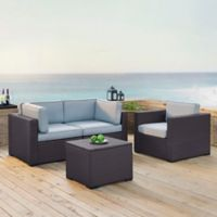 Crosley Biscayne 4-Piece Resin Wicker Conversation Set with Mist Cushions