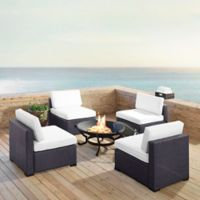 Crosley Biscayne 5-Piece Fire Pit Conversation Set with Cushions in White