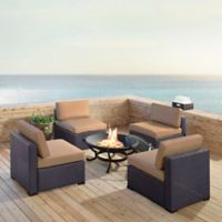 Crosley Biscayne 5-Piece Fire Pit Conversation Set with Cushions in Mocha