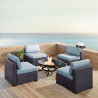 Crosley Biscayne 5-Piece Fire Pit Conversation Set with Cushions in Mist