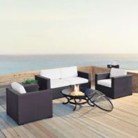 Crosley Biscayne 5-Piece Fire Pit Sectional Conversation Set with Cushions in White