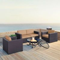 Crosley Biscayne 5-Piece Fire Pit Sectional Conversation Set with Cushions in Mocha