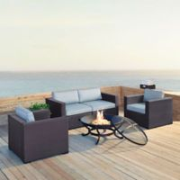 Crosley Biscayne 5-Piece Fire Pit Sectional Conversation Set with Cushions in Mist