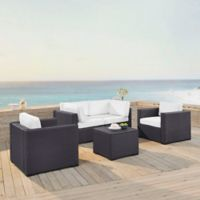 Crosley Biscayne 5-Piece Resin Wicker Seating Set with White Cushions