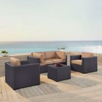 Crosley Biscayne 5-Piece Resin Wicker Seating Set with Mocha Cushions