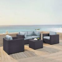 Crosley Biscayne 5-Piece Resin Wicker Seating Set with Mist Cushions