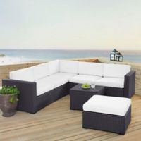 Crosley Biscayne 5-Piece Resin Wicker Sectional Set with White Cushions