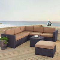 Crosley Biscayne 5-Piece Resin Wicker Sectional Set with Mocha Cushions