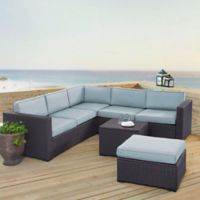 Crosley Biscayne 5-Piece Resin Wicker Sectional Set with Mist Cushions