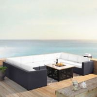 Crosley Biscayne 6-Piece Resin Wicker Sectional and Fire Pit Set with White Cushions