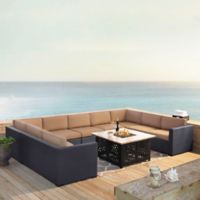 Crosley Biscayne 6-Piece Resin Wicker Sectional and Fire Pit Set with Mocha Cushions