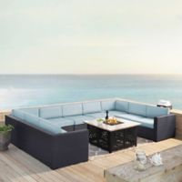 Crosley Biscayne 6-Piece Resin Wicker Sectional and Fire Pit Set with Mist Cushions
