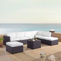 Crosley Biscayne 6-Piece Resin Wicker Sectional Seating Set with White Cushions