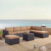Crosley Biscayne 6-Piece Resin Wicker Sectional Seating Set with Mocha Cushions