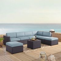 Crosley Biscayne 6-Piece Resin Wicker Sectional Seating Set with Mist Cushions