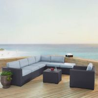 Crosley Biscayne 6-Piece Resin Wicker Outdoor Seating Set with Mist Cushions