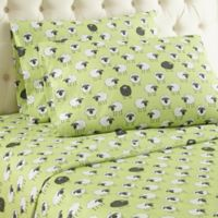 Micro Flannel® Sheep Print Queen Sheet Set in Green