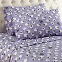 Micro Flannel® Sheep Print King Sheet Set in Lavender