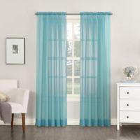No. 918 Emily Sheer Voile 95-Inch Rod Pocket Window Curtain Panel in Aegean