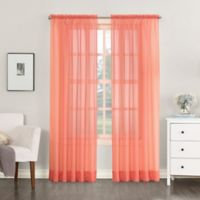 No. 918 Emily Sheer Voile 84-Inch Rod Pocket Window Curtain Panel in Coral