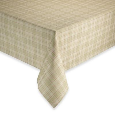 Elegant Tuscan 70 Inch Round Plaid Laminated Fabric Tablecloth In Oatmeal