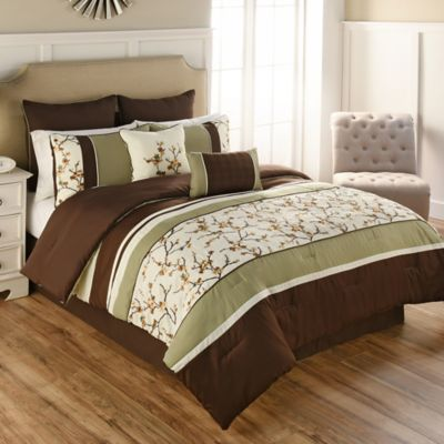 Beau Palma 9 Piece Full Comforter Set In Green/Brown
