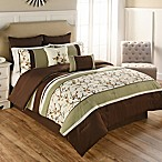 Palma 9-Piece Queen Comforter Set in Green/Brown