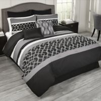 Griffen 7-Piece Twin Comforter Set in Black/White/Grey