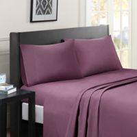 Madison Park Essentials Micro Splendor Full Sheet Set in Purple