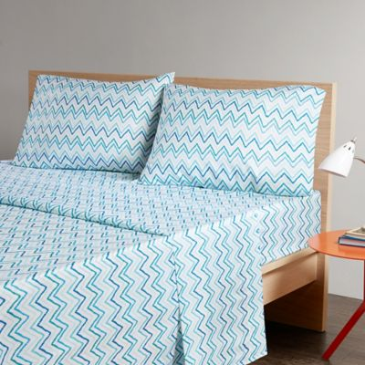intelligent design multicolor chevron printed twin xl sheet set in greenblue