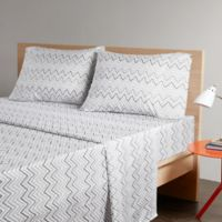 Intelligent Design Multicolor Chevron Printed Full Sheet Set in Grey