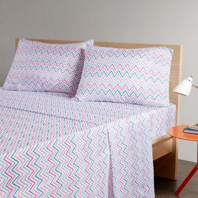 intelligent design multicolor chevron printed full sheet set in tealpink